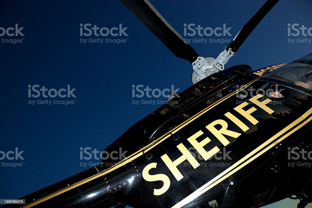 Sheriff Helicopter for Search and Rescue stock photo