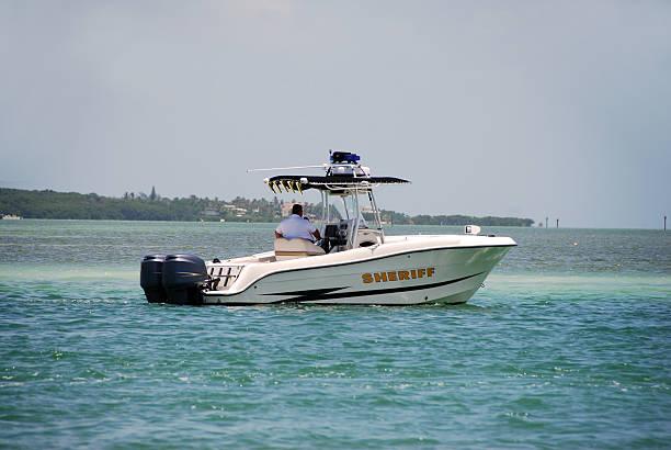 Sheriff patrol boat stock photo