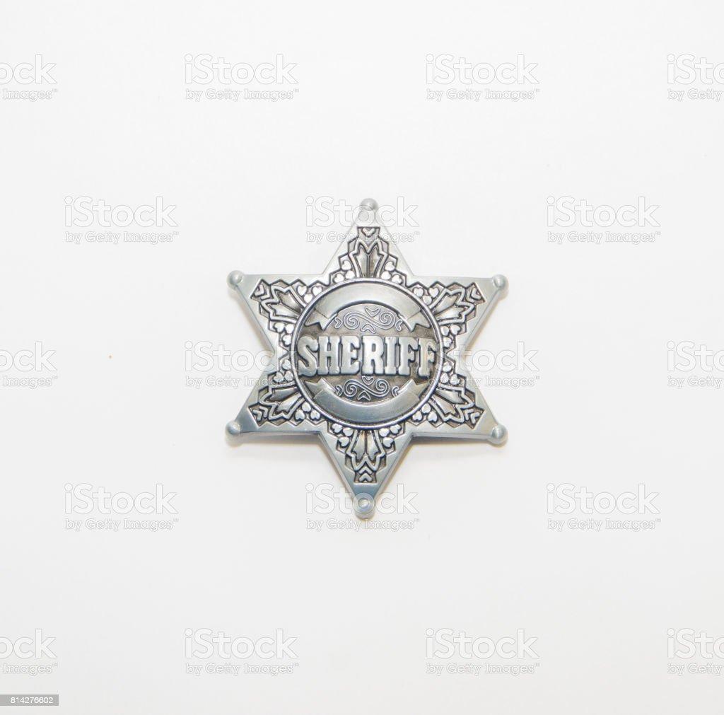 Sheriff star on white background stock photo