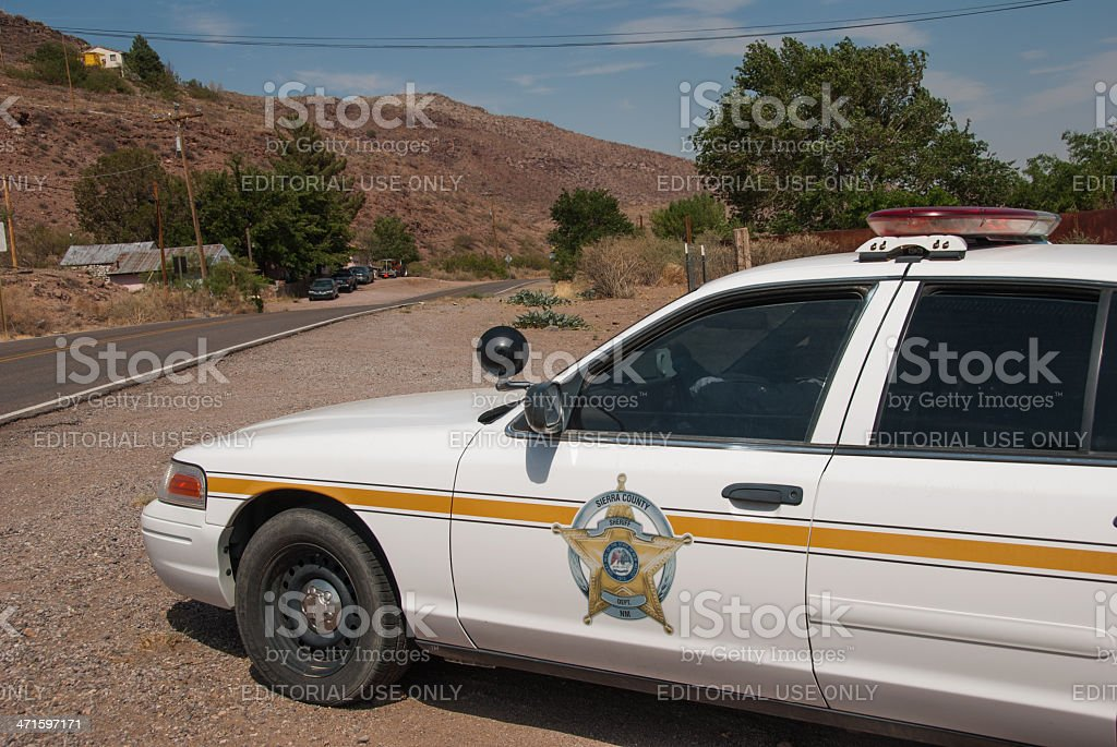 Sheriff's Car Waiting for Speeders royalty-free stock photo