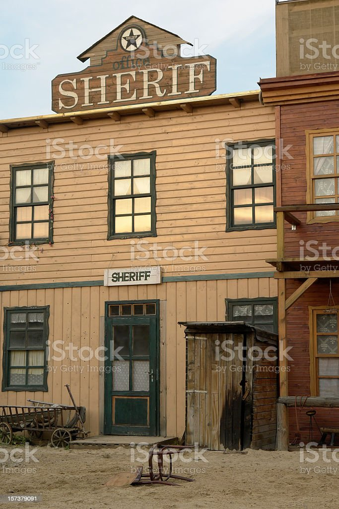Sheriff's office, Wild West old wooden buildings, houses royalty-free stock photo