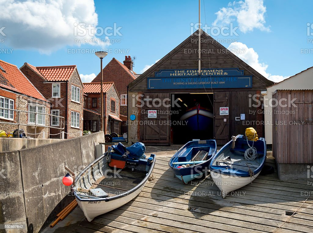 Sheringham Heritage Centre with fishing boats stock photo