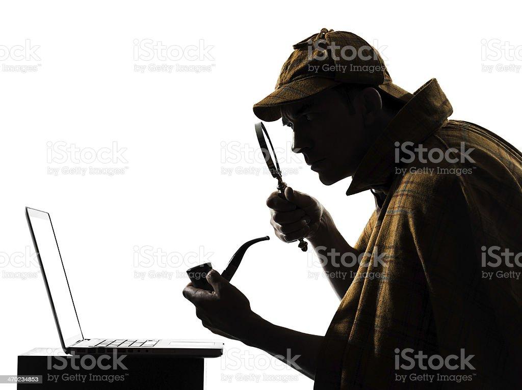 sherlock holmes laptop computer silhouette stock photo
