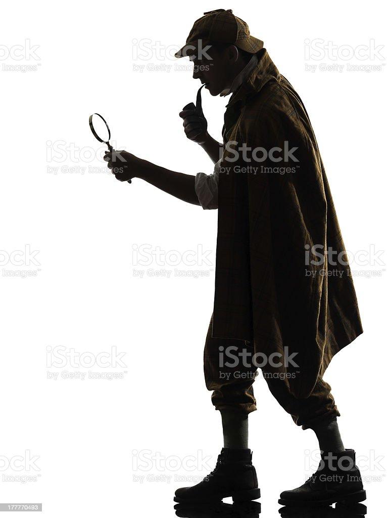 Sherlock Holmes silhouette against white background stock photo