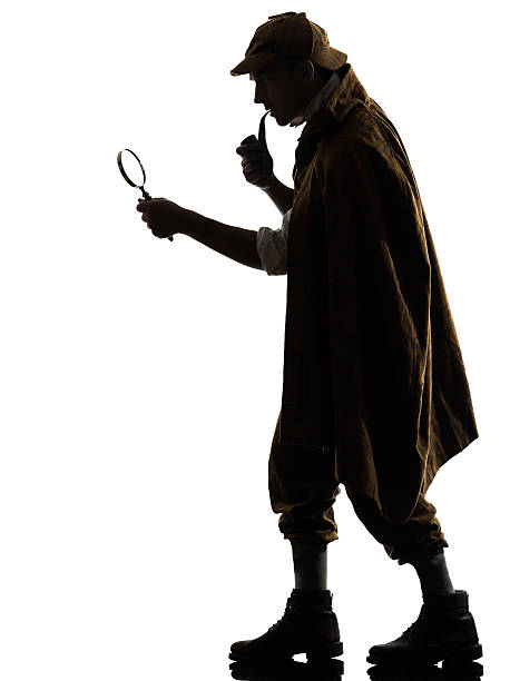 sherlock holmes silhouette against white background - sherlock holmes stock photos and pictures