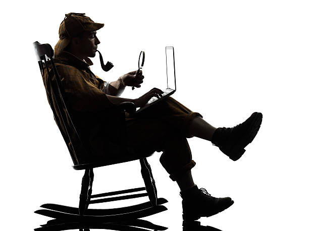 sherlock holmes silhouette computing - sherlock holmes stock photos and pictures