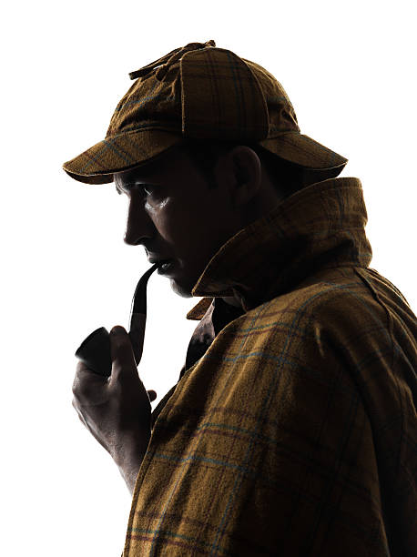 sherlock holmes silhouette sherlock holmes silhouette in studio on white background sherlock holmes stock pictures, royalty-free photos & images