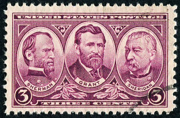 Sherman, Grant, And Sheridan Stamp Cancelled Stamp From The United States Commemorating Three Generals From The Union Army During The Civil War.  William Tecumseh Sherman Lived From 1820 Until 1891.  Ulysses S. Grant Lived From 1822 Until 1885.  Philip Henry Sheridan Lived From 1831 Until 1888. civil war memorial minnesota stock pictures, royalty-free photos & images