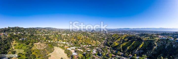 An aerial panorama of a Sherman Oaks