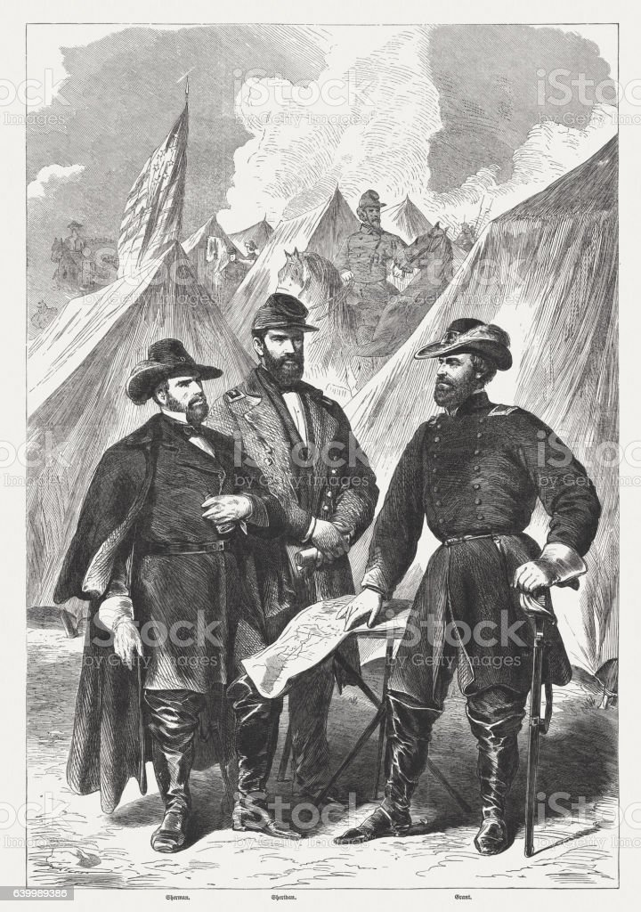 Sherman, Sheridan, Grant, Military leaders during the American Civil War stock photo