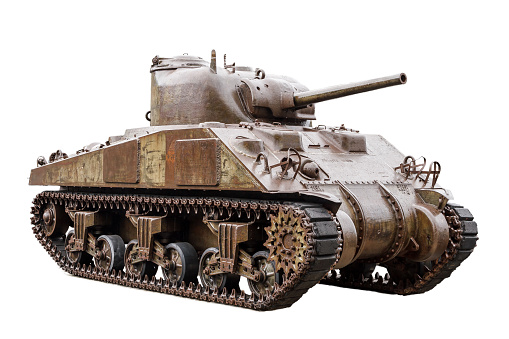 The M4 Sherman, officially Medium Tank, M4, the most used medium tank by the United States and Western Allies in World War II, isolated on a white background