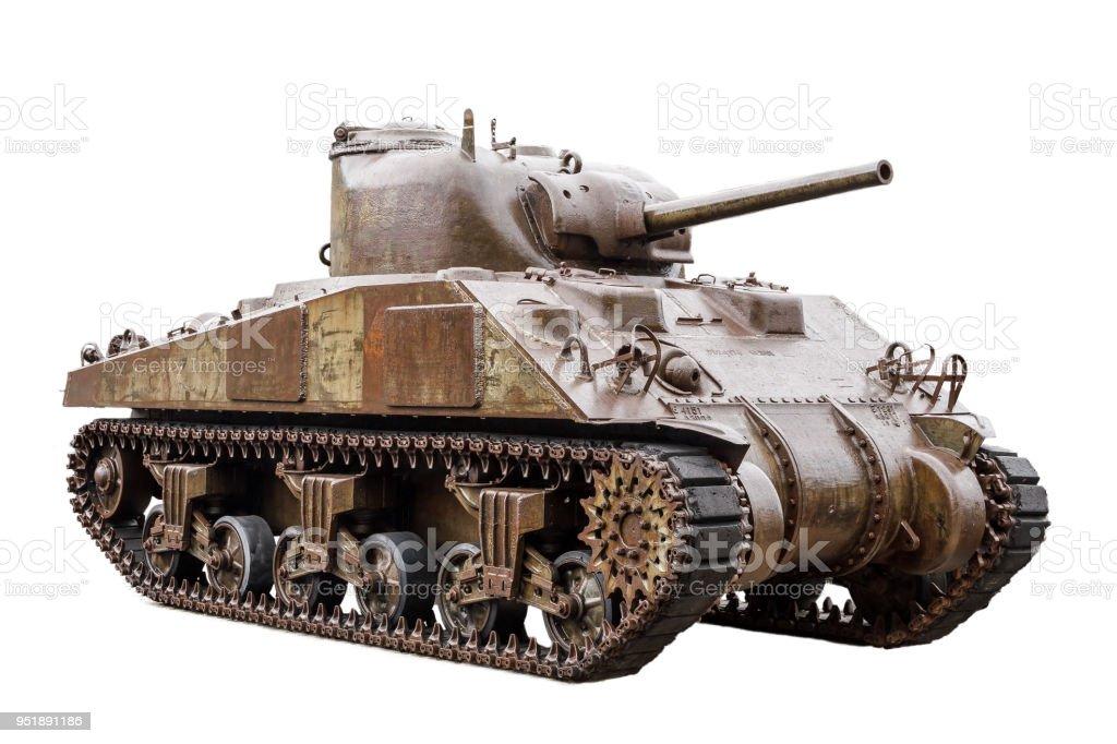 M4 Sherman tank on white stock photo