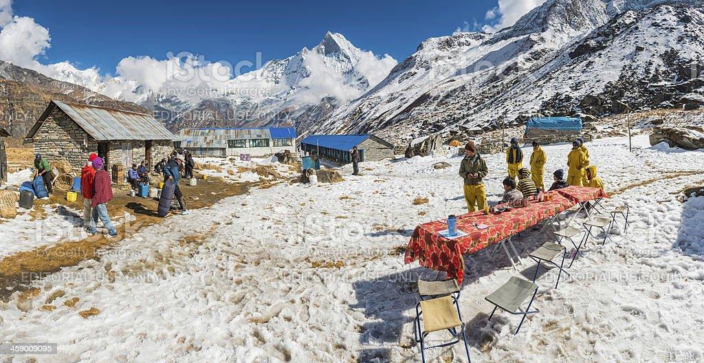Sherpas at Annapurna Base Camp Himalaya mountains Nepal royalty-free stock photo