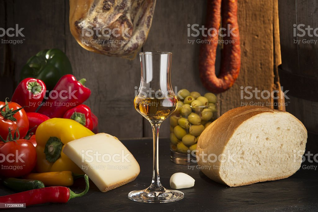 Sherry and spanish food royalty-free stock photo