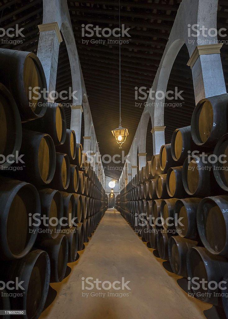 Sherry barrels in Jerez bodega, Spain stock photo
