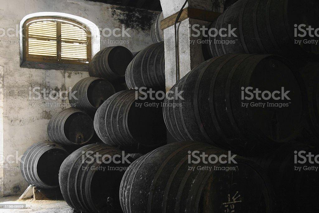 sherry wine cellar stock photo