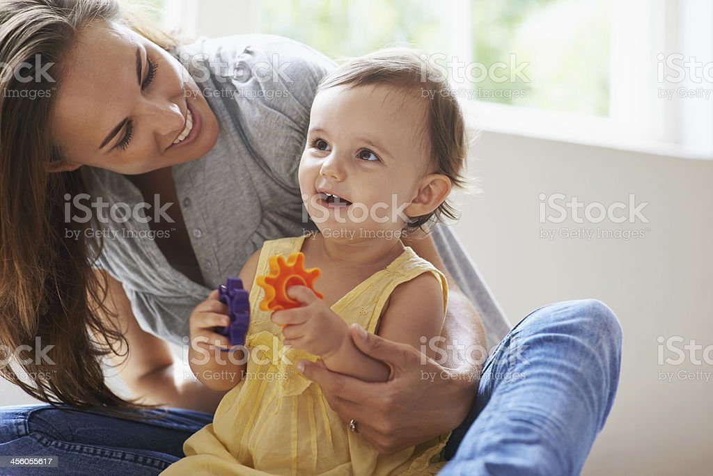 She's a bright little girl stock photo