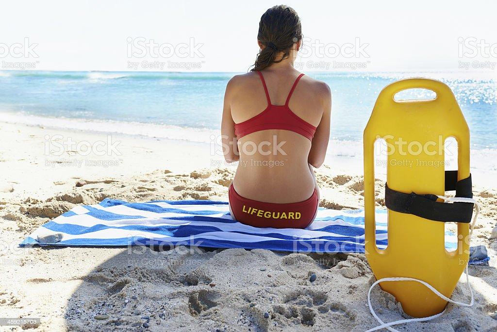 She's a dedicated lifeguard stock photo