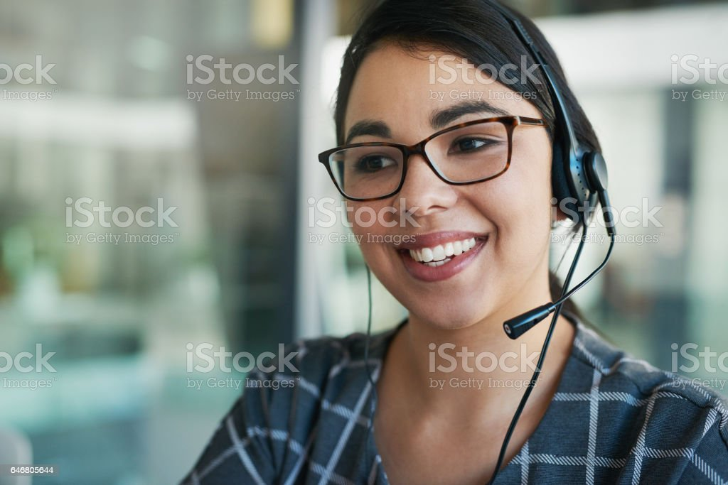 She's a delight to speak to stock photo