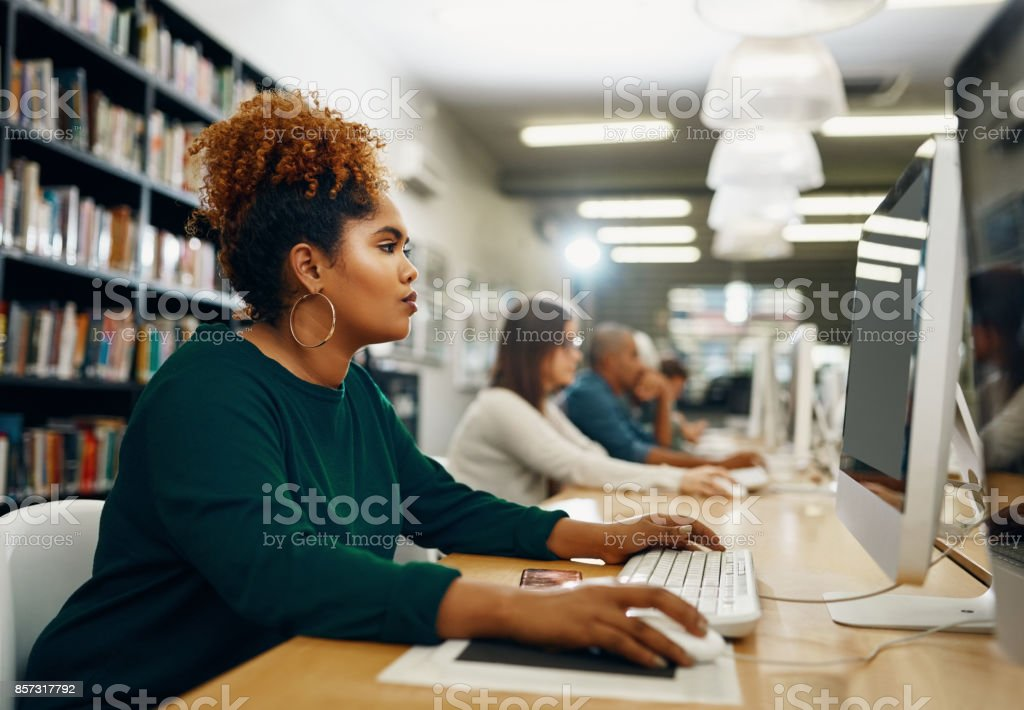 She's a diligent student stock photo