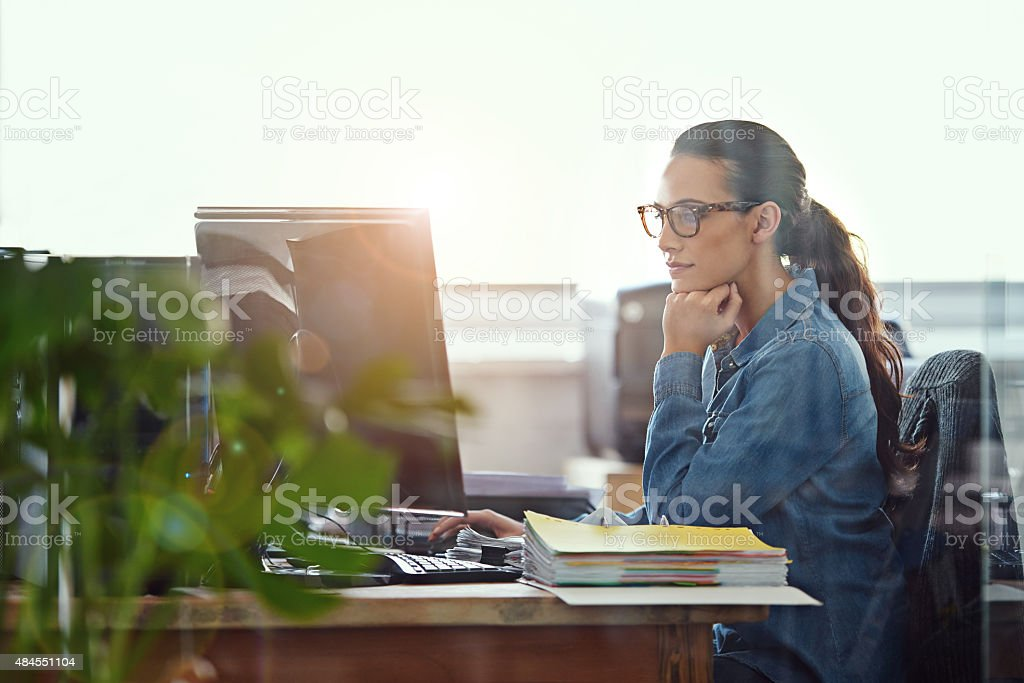 She's a diligent worker stock photo