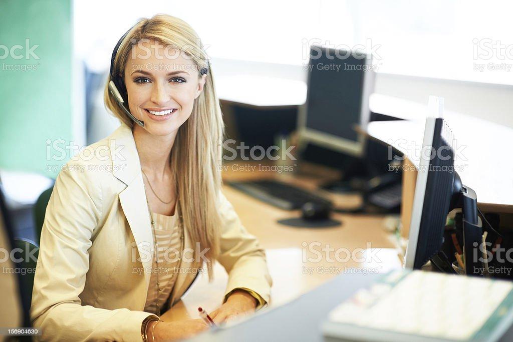 She's a friendly service representative stock photo