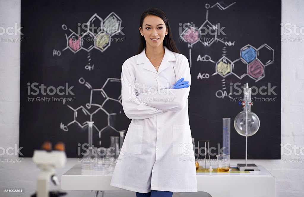 She's a genius in the making stock photo