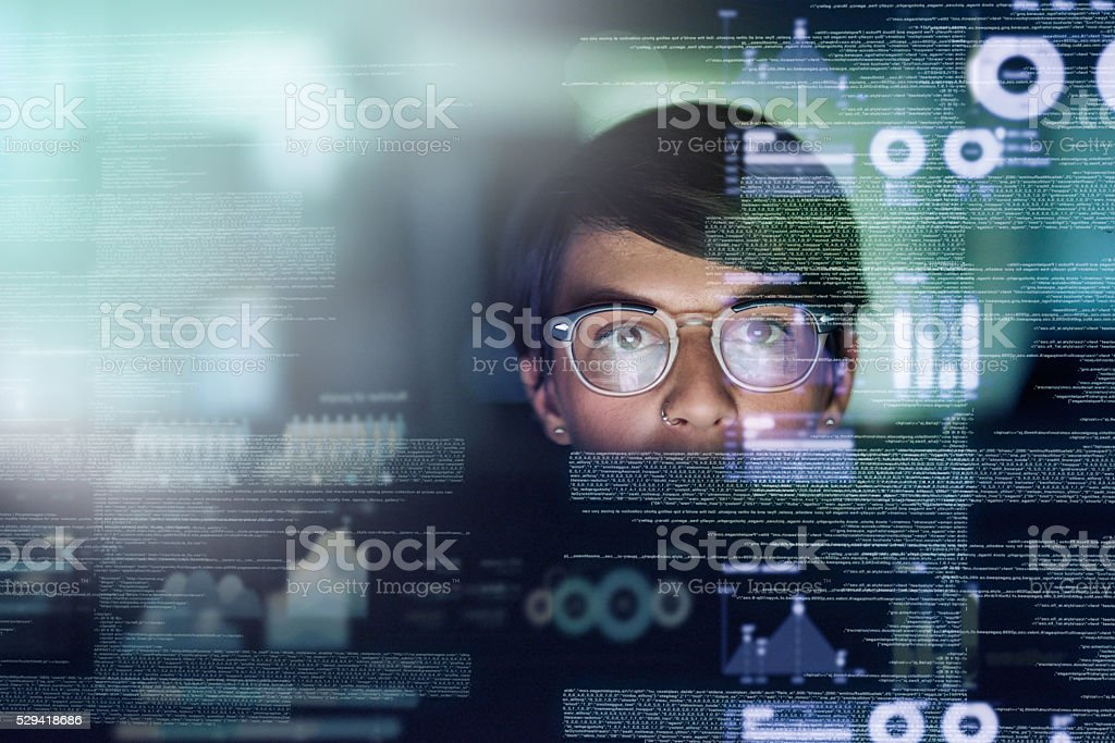 She's a genius programmer stock photo