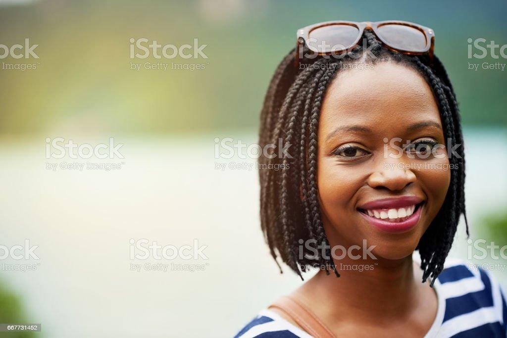 She's a happy go lucky traveller stock photo