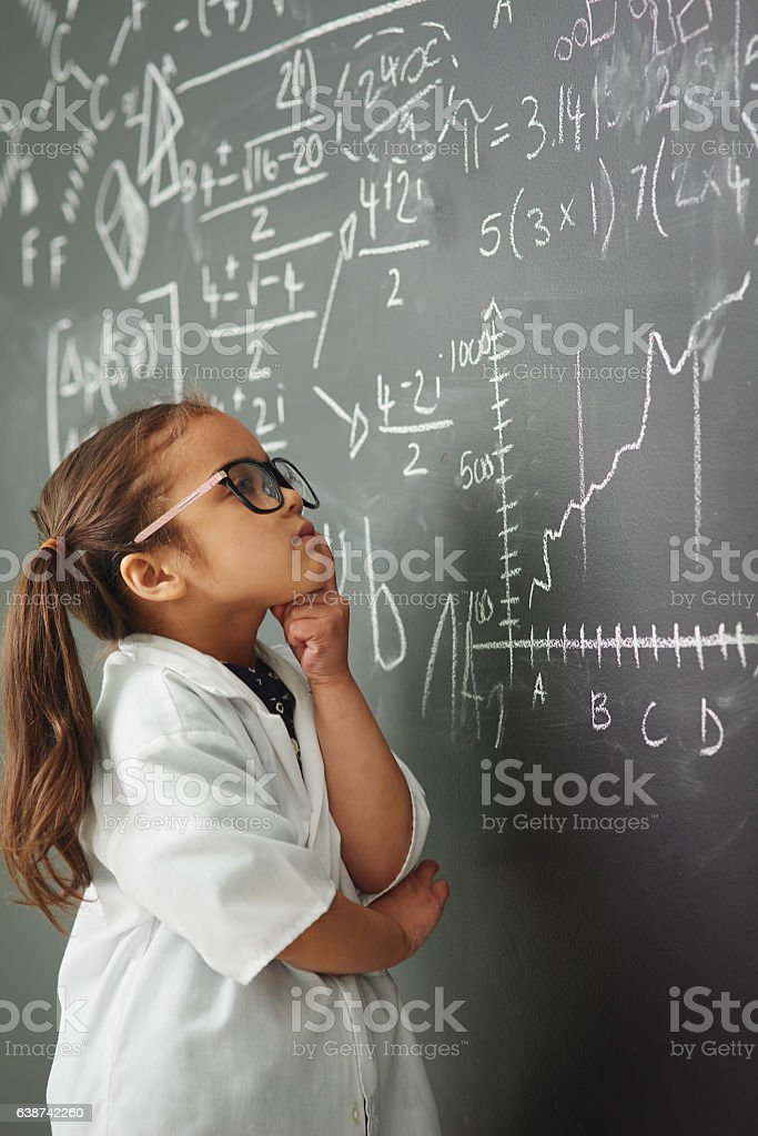 She's a little genius stock photo