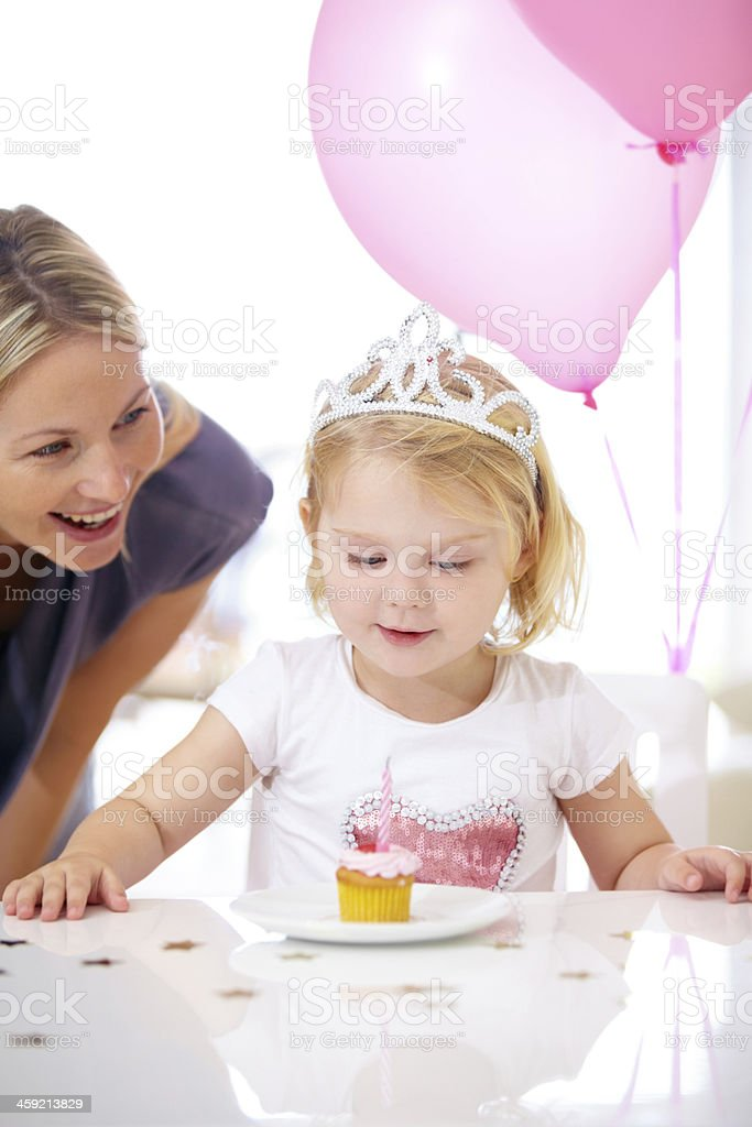 She's a princess on her birthday! stock photo