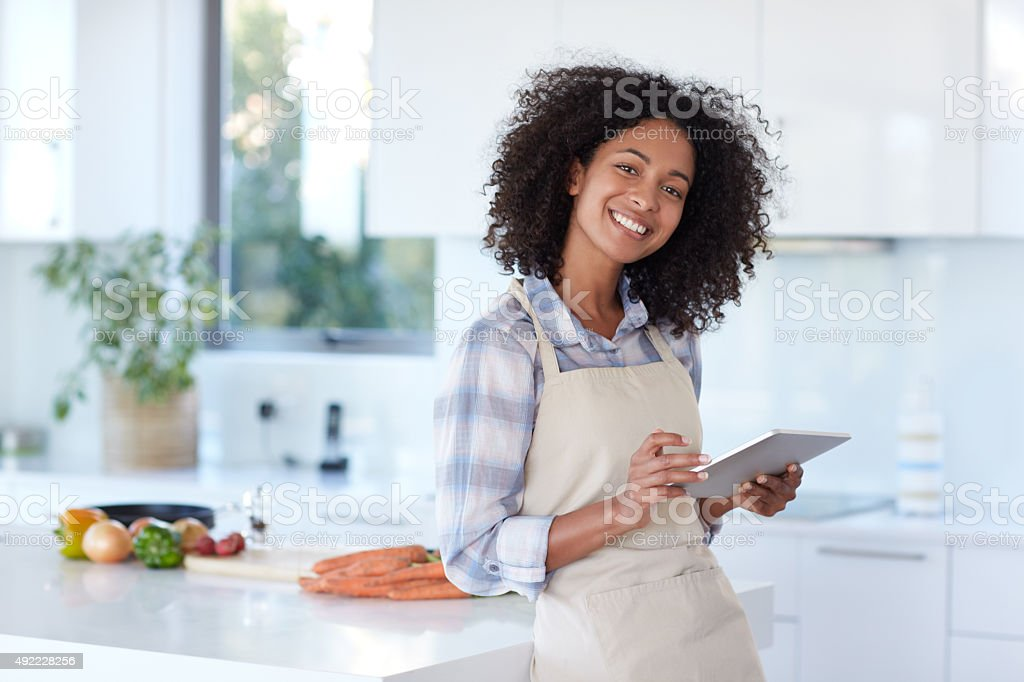 She's a real foodie stock photo