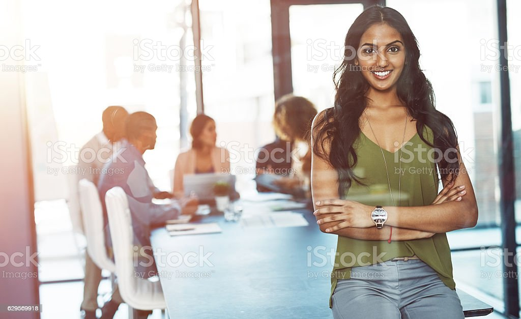 She's a true leader, not just a boss stock photo