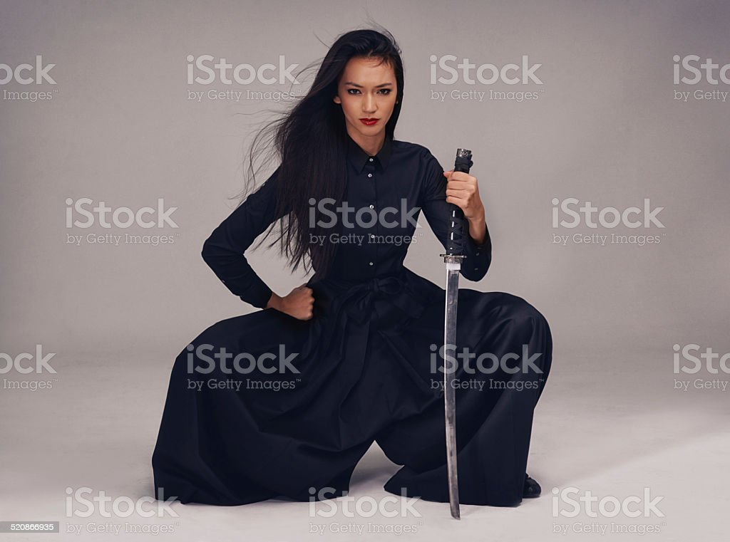 She's a true samurai stock photo