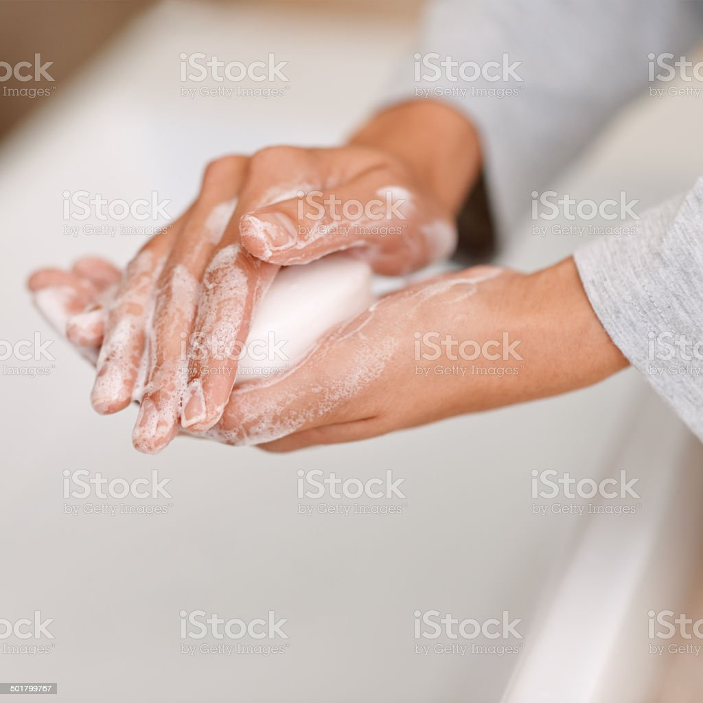 She's all about personal hygiene stock photo