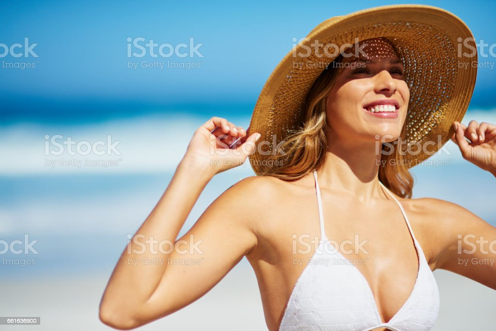 She's all smiles in the sunshine stock photo
