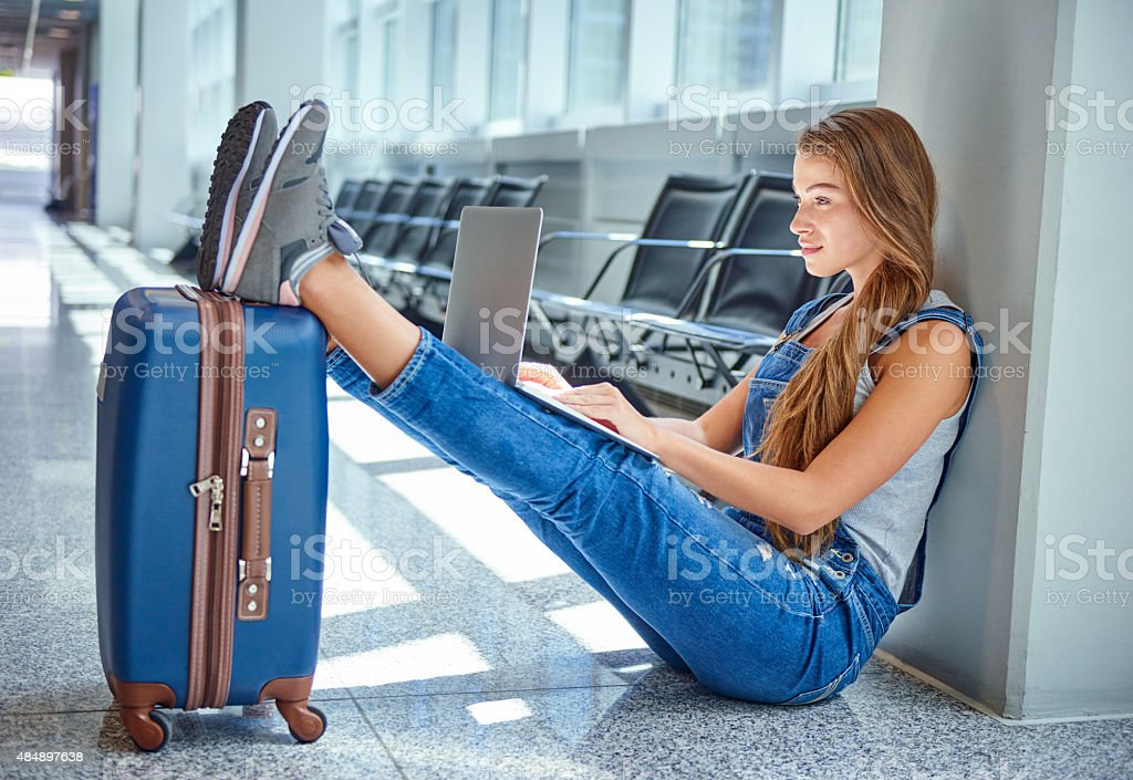 She's always comfortabel on the go stock photo