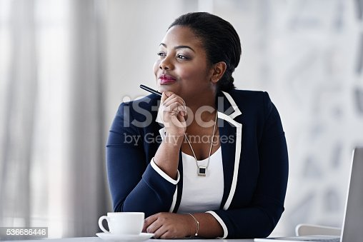 Shot of a thoughtful young businesspeople working at her desk in an office