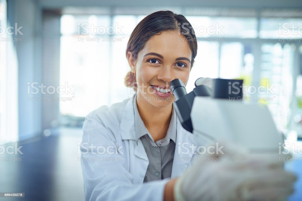 She's an expert at solving scientific mysteries stock photo