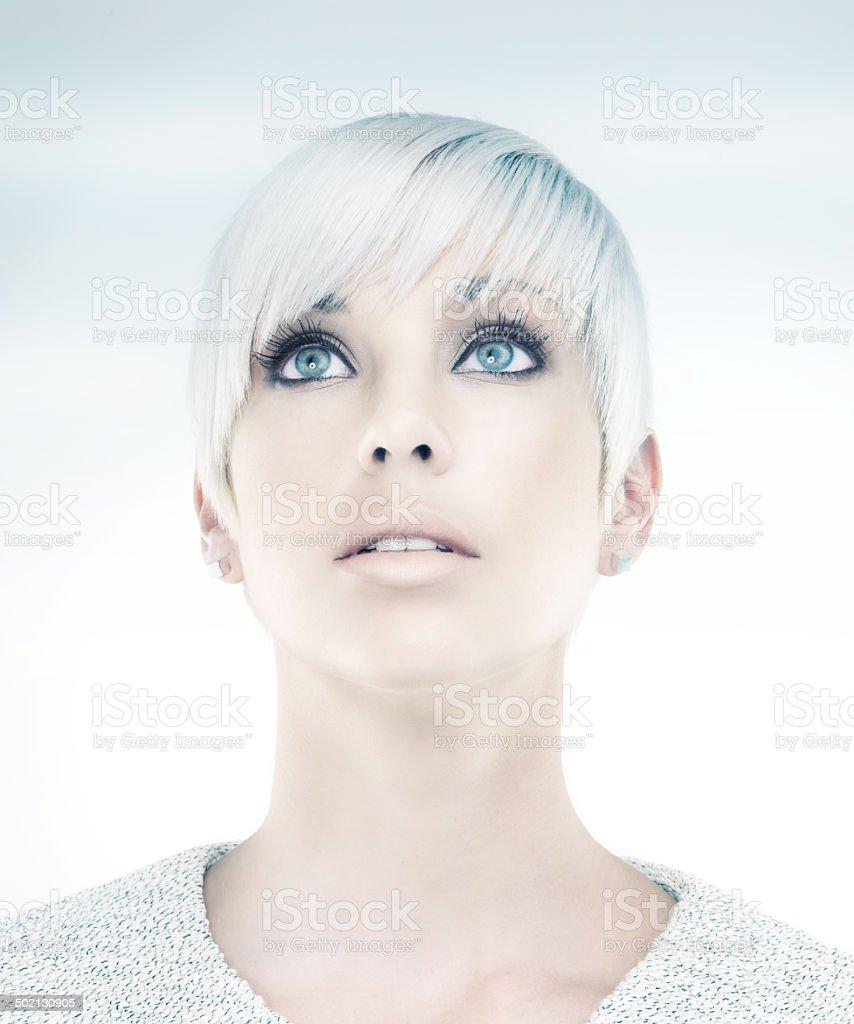 She's an image of a beautiful future stock photo