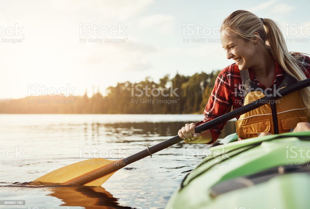 She's an outdoor enthusiast stock photo