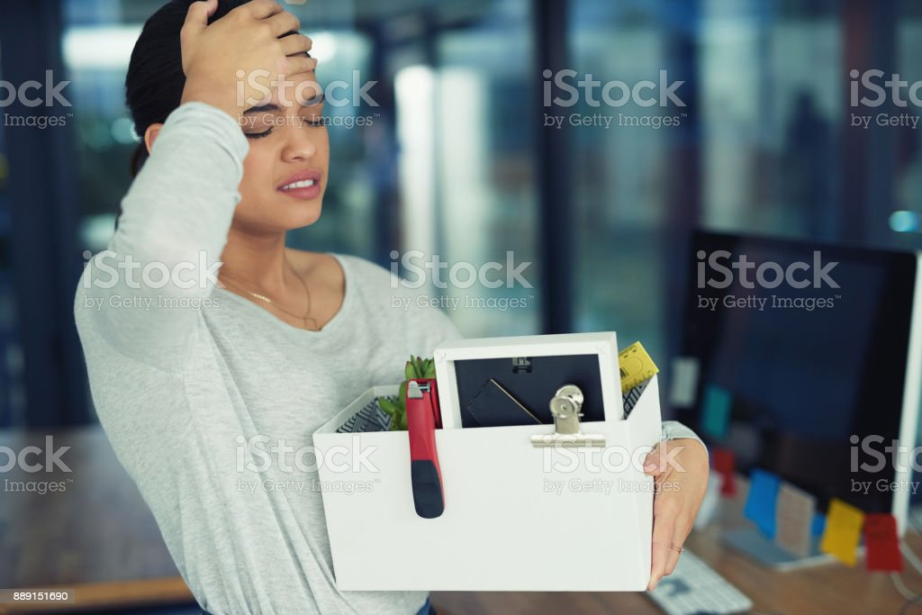 Shes' been laid off from work stock photo