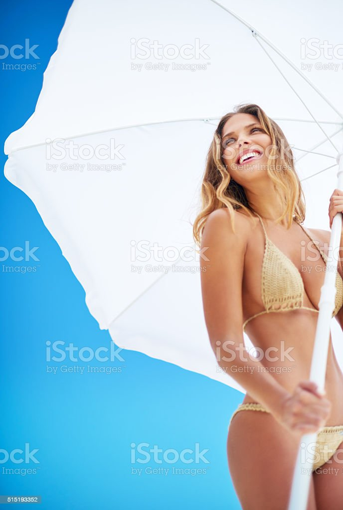 She's being sun smart stock photo