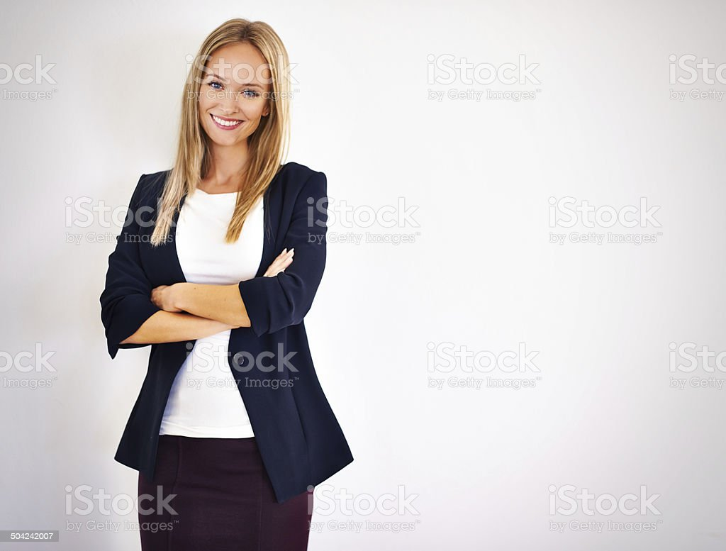 She's brimming with self confidence! stock photo