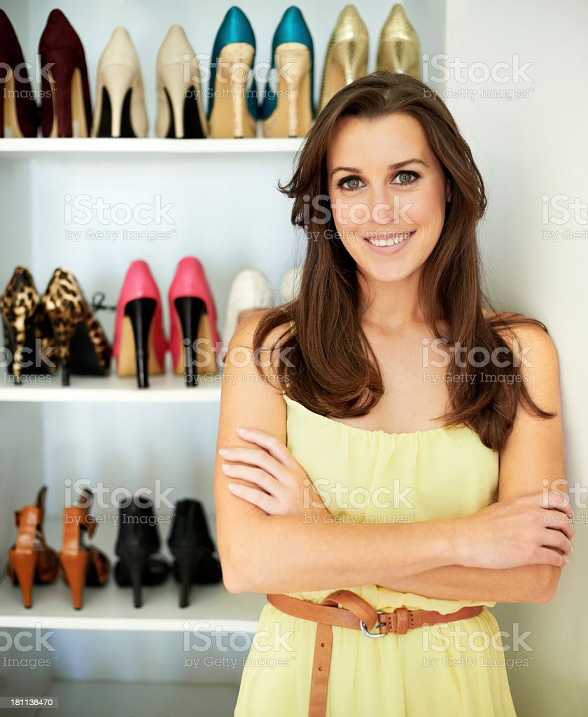She's confident about her style stock photo
