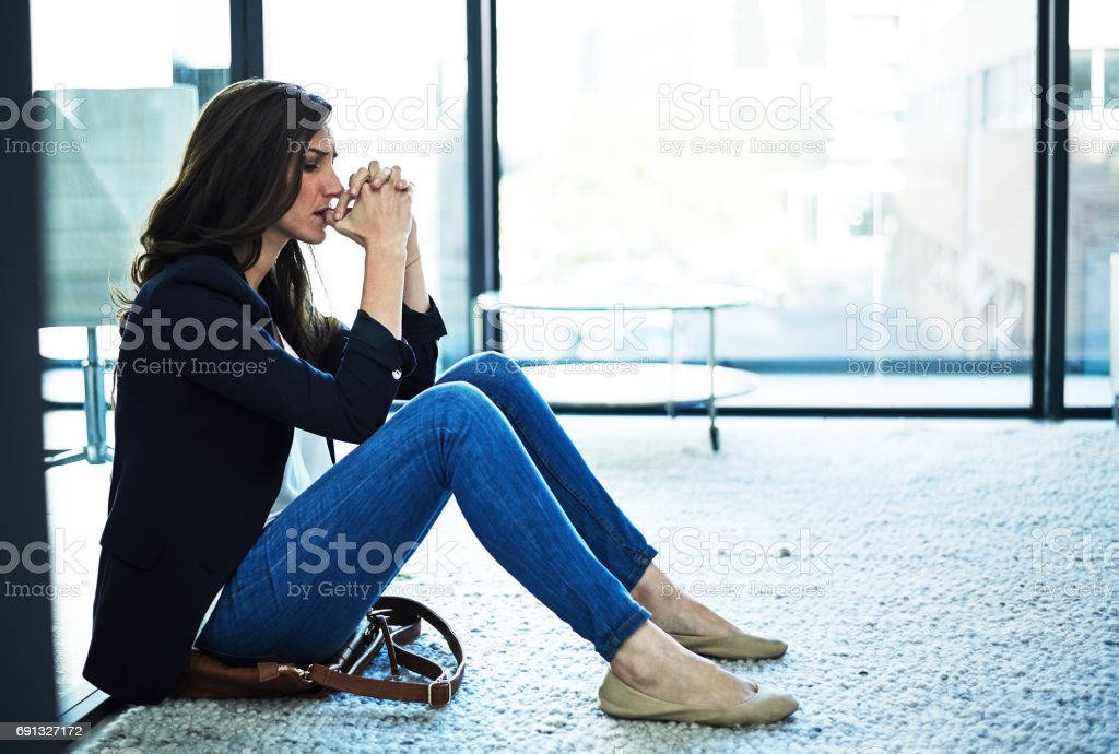 She's cracking under the pressure stock photo