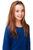 Portrait of a gorgeous young girl smiling against a white background