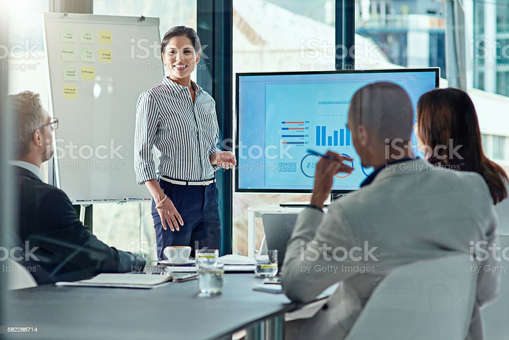 She's delivering one amazing presentation stock photo