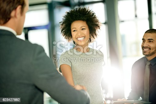 istock She's eager and excited to be joining a new team 623427882