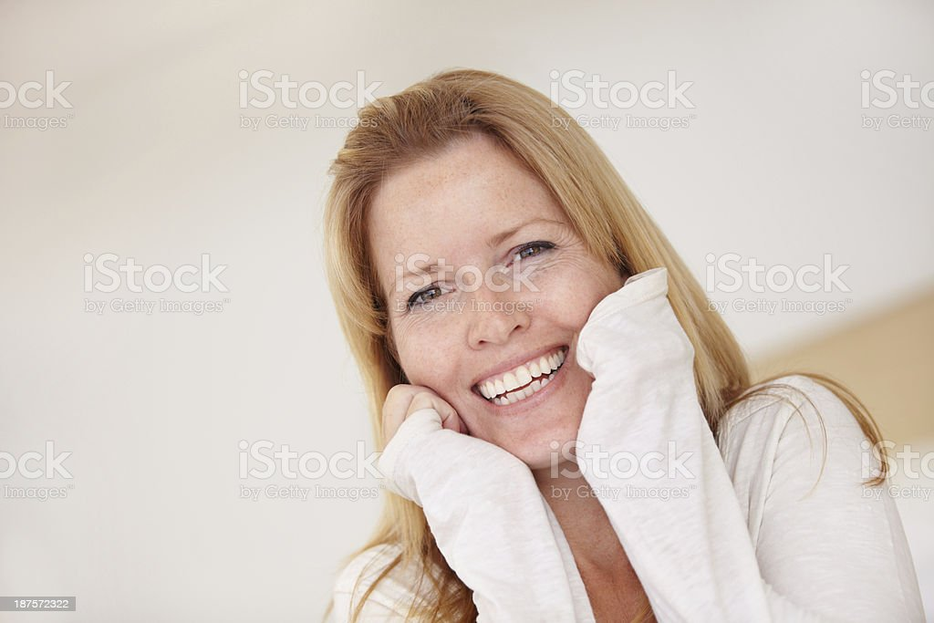 She's excited about a new day royalty-free stock photo